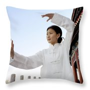 A Woman In Her 20s To 30s Doing Throw Pillow by Justin Guariglia