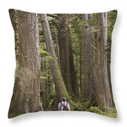 A Woman Walks In Old Growth Forest Throw Pillow by Taylor S. Kennedy
