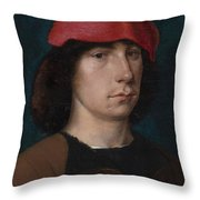 A Young Man In A Red Cap Throw Pillow by Michiel Sittow