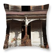 Abandoned House Facade Rusty Porch Roof Throw Pillow by John Stephens