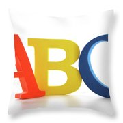 Abc Letters On White  Throw Pillow by Sandra Cunningham
