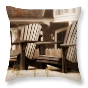 Adirondack Chairs On The Beach - Jersey Shore Throw Pillow by Angie Tirado