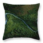 Aerial View Of The El Almandro Tinted Throw Pillow by Stephen Alvarez