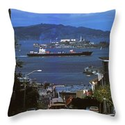 Alcatraz From San Fran Hilltop Throw Pillow by Paul W Faust -  Impressions of Light