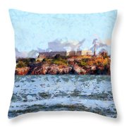 Alcatraz Island In San Francisco California . 7d14031 Throw Pillow by Wingsdomain Art and Photography