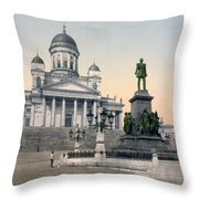 Alexander II Memorial At Senate Square In Helsinki Finland Throw Pillow by International  Images