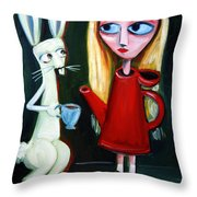 Alice A Tea Pot Throw Pillow by LEANNE WILKES