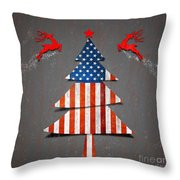 America X'mas Tree Throw Pillow by Atiketta Sangasaeng
