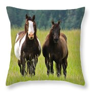 American Paint Stallion And Mare Throw Pillow by Karon Melillo DeVega