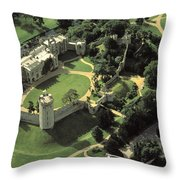 An Aerial View Of Warwick Castle Throw Pillow by Richard Nowitz