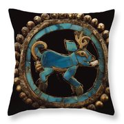 An Ancient Moche Indian Ear Ornament Throw Pillow by Bill Ballenberg
