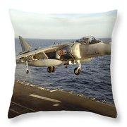 An Av-8b Harrier II Prepares To Land Throw Pillow by Stocktrek Images