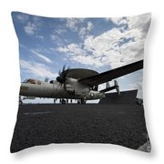 An E-2c Hawkeye Aircraft Prepares Throw Pillow by Stocktrek Images
