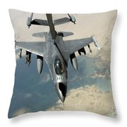 An F-16 Fighting Falcon Refuels Throw Pillow by Stocktrek Images