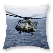 An Mh-53e Sea Dragon In Flight Throw Pillow by Stocktrek Images