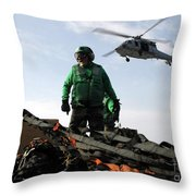 An Mh-60s Seahawk Passes Over Two Throw Pillow by Stocktrek Images