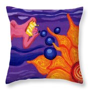 Angel Blows Bubbles On Sunflower Throw Pillow by Genevieve Esson