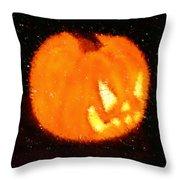 Angry Pumpkin Throw Pillow by Richard De Wolfe