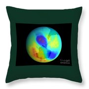 Antarctic Ozone Hole, September 2002 Throw Pillow by NASA / Science Source