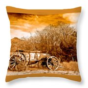 Antique Wagon Throw Pillow by Bob and Nadine Johnston