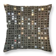 Apartment Block At Night, Typical Throw Pillow by Axiom Photographic