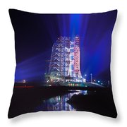 Apollo 11 Sits On Its Launchpad Throw Pillow by O. Louis Mazzatenta