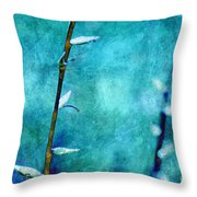 Aqua and Indigo Throw Pillow by Aimelle