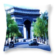 Arc de Triomphe 1954 Throw Pillow by Chuck Staley