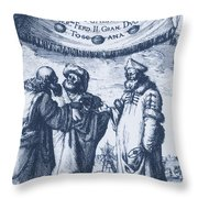 Aristotle, Ptolemy And Copernicus Throw Pillow by Science Source