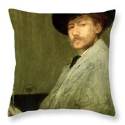 Arrangement In Grey - Portrait Of The Painter Throw Pillow by James Abbott McNeill Whistler
