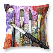 Art Is Messy 6 Throw Pillow by Carol Leigh