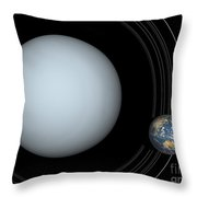 Artists Concept Of Uranus And Earth Throw Pillow by Walter Myers