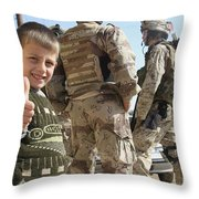 As A Father Is Questioned By Marines Throw Pillow by Stocktrek Images