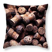 Assorted champagne corks Throw Pillow by Garry Gay