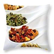 Assorted Herbal Wellness Dry Tea In Spoons Throw Pillow by Elena Elisseeva
