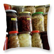 Assorted Spices Throw Pillow by Carlos Caetano