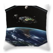 Asteroid Golf Throw Pillow by Snake Jagger