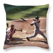 At Bat Throw Pillow by Lynne Jenkins