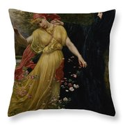 At The First Touch Of Winter Summer Fades Away Throw Pillow by Valentine Cameron Prinsep