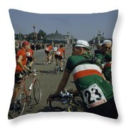 Athletes From Many Countries Await Throw Pillow by Justin Locke