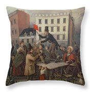 Auction In Chatam Street Throw Pillow by E Didier