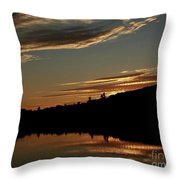 August Lake Sunset Throw Pillow by Donna Cavanaugh