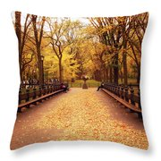 Autumn - Central Park - New York City Throw Pillow by Vivienne Gucwa