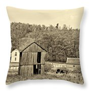 Autumn Farm sepia Throw Pillow by Steve Harrington