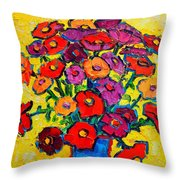 Autumn Flowers Zinnias Original Oil Painting Throw Pillow by Ana Maria Edulescu