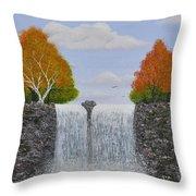 Autumn Waterfall Throw Pillow by Georgeta  Blanaru