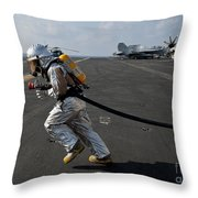 Aviation Boatswain's Mate Carries Throw Pillow by Stocktrek Images