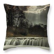 Aysgarth Falls Yorkshire England Throw Pillow by John Short