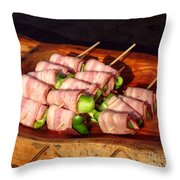 Bacon And Pepper Skewers Throw Pillow by Yali Shi