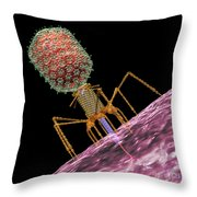 Bacteriophage T4 Injecting Throw Pillow by Russell Kightley